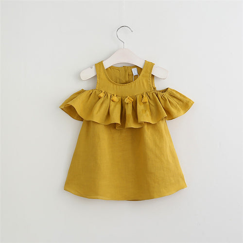 WILLOW Tassels Lotus Ruffles Cold-Shoulder Dress Mustard Yellow