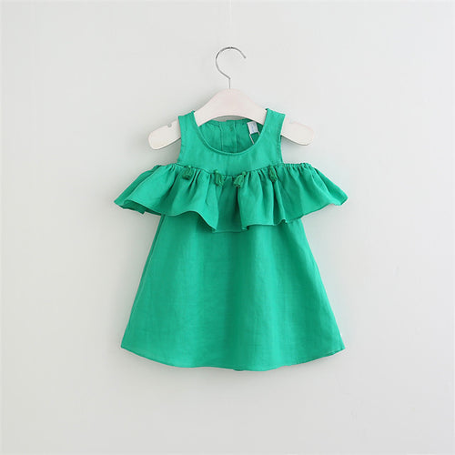 WILLOW Tassels Lotus Ruffles Cold-Shoulder Dress Green