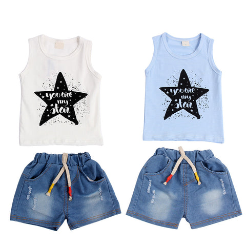 """You Are My Star"" Sleeveless Vest and Denim Shorts Set Sky Blue"