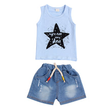 """You Are My Star"" Sleeveless Vest and Denim Shorts Set Sky Blue -  Sets - The Tot Drawer"