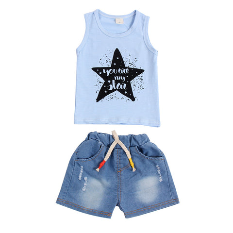 """You Are My Star"" Sleeveless Vest and Denim Shorts Set White"