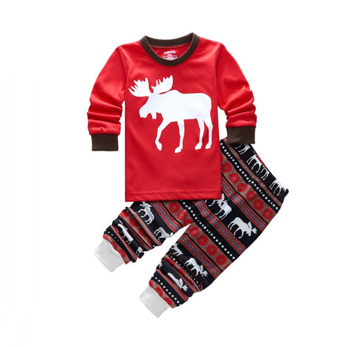STARR Reindeer L/S Pullover and Printed Long Pants Set
