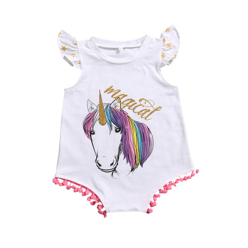 Unicorn Magical Tassels Romper (0-24M)