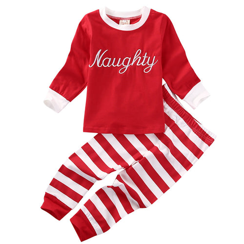Naughty or Nice L/S T-Shirt and Striped Long Pants Set Red