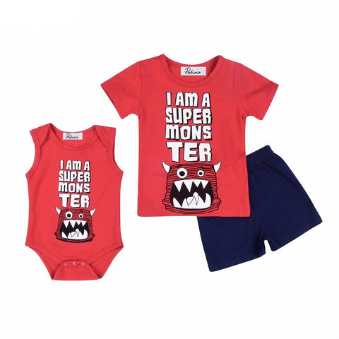 """I Am A Super Monster"" T-Shirt and Shorts Set"