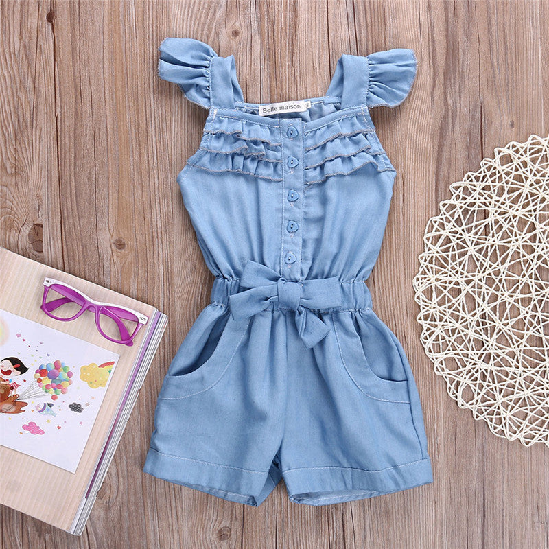 JOCELYN Ruffles Denim Jumpsuit -  Romper - The Tot Drawer