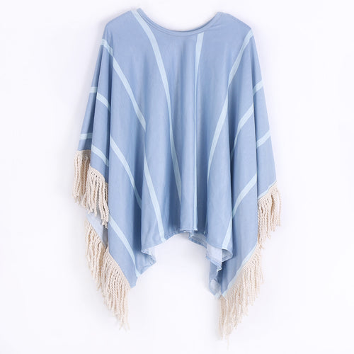 DAPHNE Tassel Striped Cardigan Poncho Top -  Outerwear - The Tot Drawer