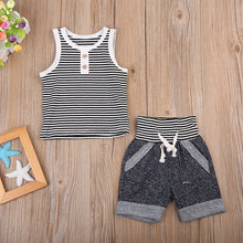 JUDE Sleeveless Stripes Tank Top and Shorts Set -  Sets - The Tot Drawer