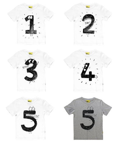 1 2 3 4 5 Numbered T-Shirt (10 designs option) -  top - The Tot Drawer