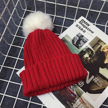 PRESLEY Pompom Knitted Beanie Red -  Accessories - The Tot Drawer