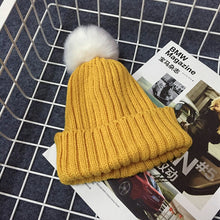 PRESLEY Pompom Knitted Beanie Yellow -  Accessories - The Tot Drawer