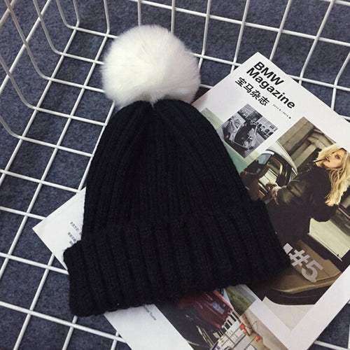 PRESLEY Pompom Knitted Beanie Black -  Accessories - The Tot Drawer
