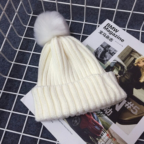 PRESLEY Pompom Knitted Beanie White -  Accessories - The Tot Drawer