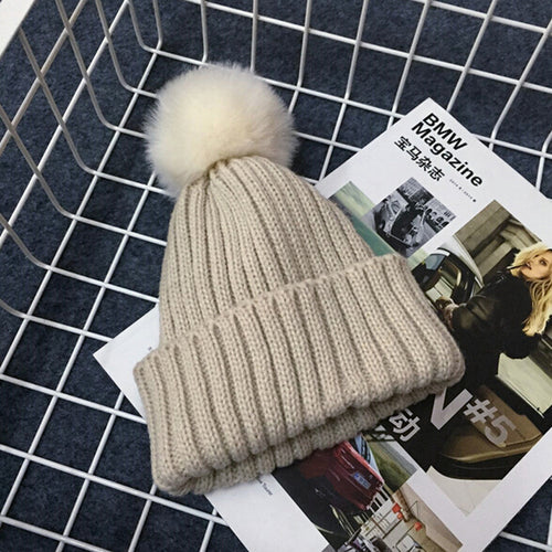 PRESLEY Pompom Knitted Beanie Beige -  Accessories - The Tot Drawer