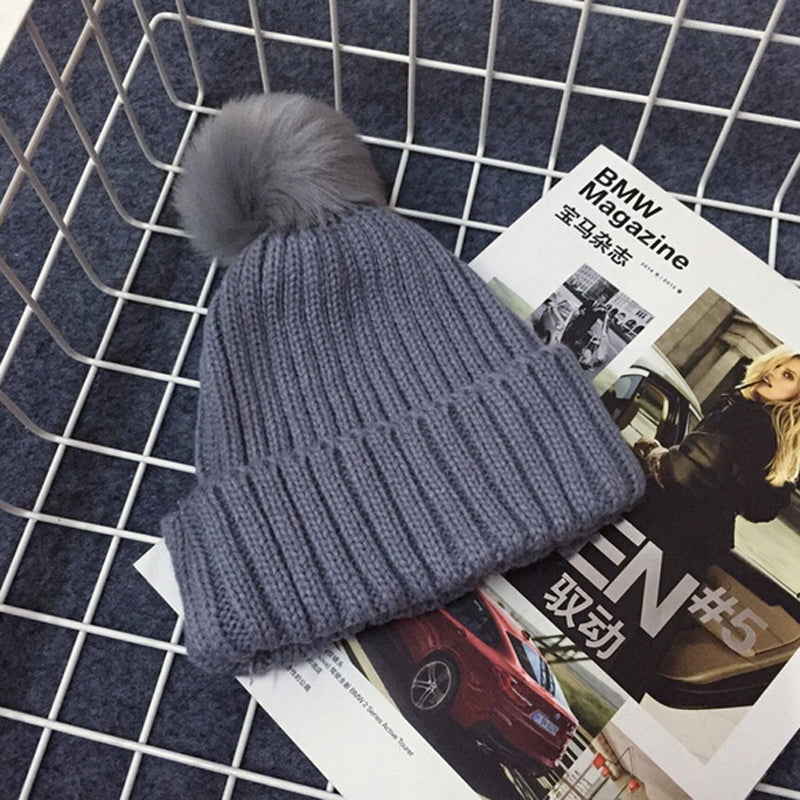 PRESLEY Pompom Knitted Beanie Gray -  Accessories - The Tot Drawer