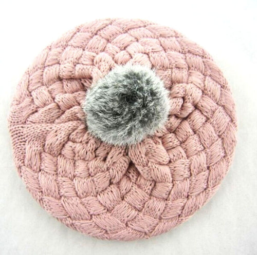 PANDORA Knitted Crochet Beret Beanie Hat Pink -  Accessories - The Tot Drawer
