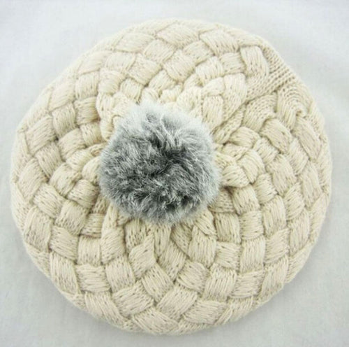 PANDORA Knitted Crochet Beret Beanie Hat Beige -  Accessories - The Tot Drawer