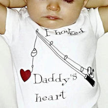 """I Hooked Daddy's Heart"" Bodysuit (0-24M) -  Onesies - The Tot Drawer"