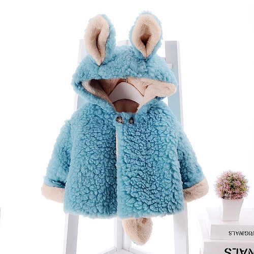 BRYCE Bunny Ears Reversible Faux Fur Fleece Winter Coat Jackets Blue (1-4T)