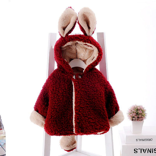 BRYCE Bunny Ears Reversible Faux Fur Fleece Winter Coat Jackets Red (1-4T) -  Outerwear - The Tot Drawer