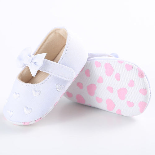 VICKY Heart Bowknot Soft Sole Shoes White (0-18M) -  Shoes - The Tot Drawer