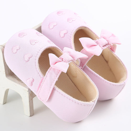 VICKY Heart Bowknot Soft Sole Shoes Pink (0-18M) -  Shoes - The Tot Drawer