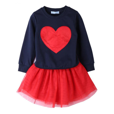 VALERIE Heart Pullover Sweater and Tutu Skirt  2pcs Set Red (2-7T) -  Sets - The Tot Drawer