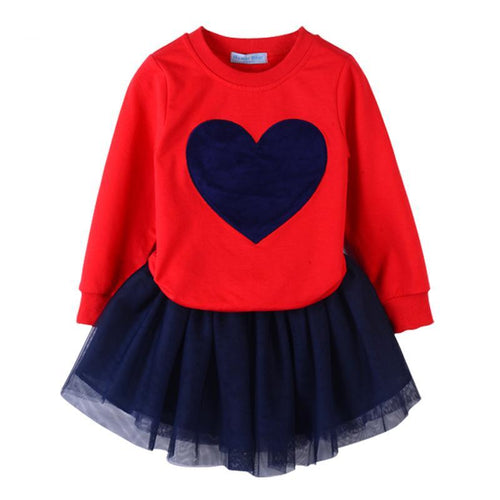 VALERIE Heart Pullover Sweater and Tutu Skirt  2pcs Set Red (2-7T)