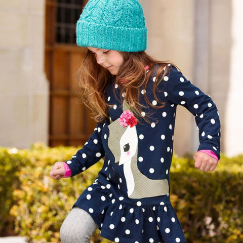 LUCIA Deer and Polka Dots Long Sleeve T-Shirt Dress -  Dress - The Tot Drawer