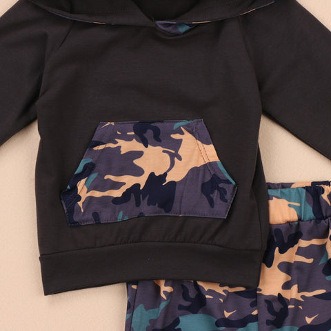 HUGO Camouflage Hooded Tops and Long Pants Outfits