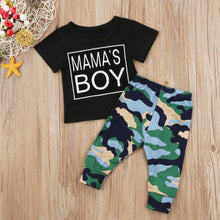 """Mama's Boy"" T-Shirt and Camo Long Pants 2Pcs Set -  Sets - The Tot Drawer"