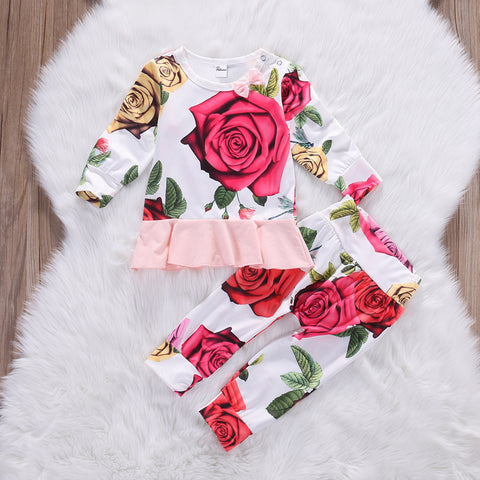 FLORENCE Roses Long Sleeve Ruffled Tops and Long Pants 2PCS Set -  Sets - The Tot Drawer
