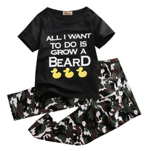"""All I Want To Do is Grow A Beard"" T-shirt and Camo Long Pants 2PCS Set -  Sets - The Tot Drawer"
