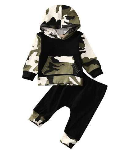 HECTOR Camouflage Hooded Tops and Long Pants Outfits Army Green