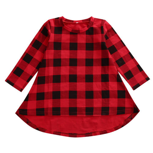 ANGELICA Red Plaid Hi-Lo Hem Dress