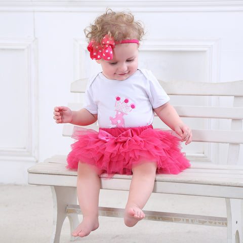 """1"" Bodysuit, Tutu Skirt and Headband 3 PCS Set (0-24M, 3 colors) -  Sets - The Tot Drawer"