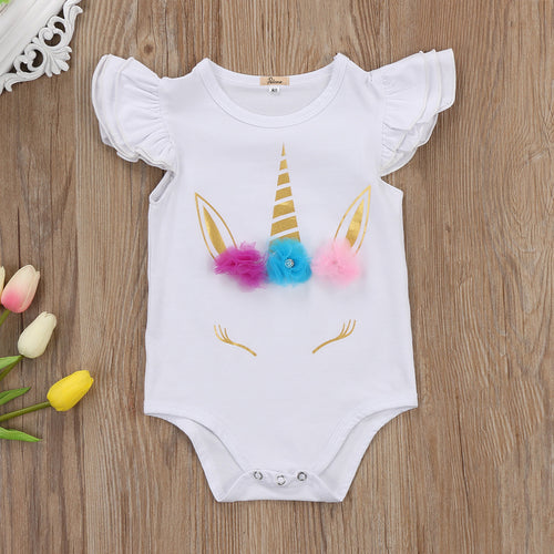 Unicorn Ruffles Sleeves Bodysuits (0-24M)