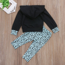 """Girl Boss"" Hooded Tops and Leopard Spots Long Pants Set (2-7T)"
