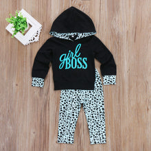 """Girl Boss"" Hooded Tops and Leopard Spots Long Pants Set (2-7T) -  Sets - The Tot Drawer"