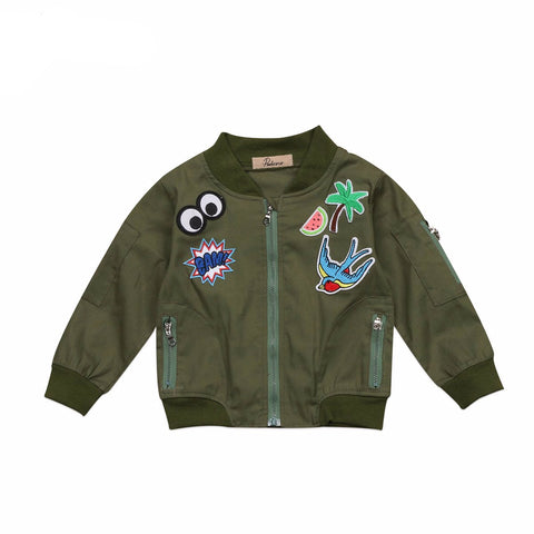 BENJI Army Green Bomber Jacket Outerwear 2-7T
