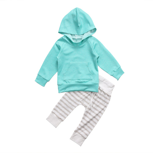 BENSON Hooded Pullover and Striped Long Pants Set Aqua Blue (0-5T)