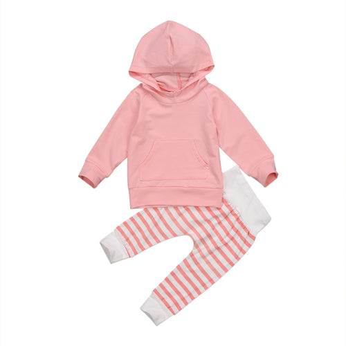 BENSON Hooded Pullover and Striped Long Pants Set Pink (0-5T)