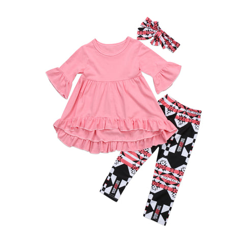 BERNADETTE Ruffles Blouse, Printed Long Pants and Headband 3PCS Set - Floral (2-7T) -  Dress - The Tot Drawer