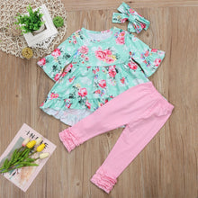 BERNADETTE Ruffles Blouse, Printed Long Pants and Headband 3PCS Set - Pink (2-7T) -  Dress - The Tot Drawer