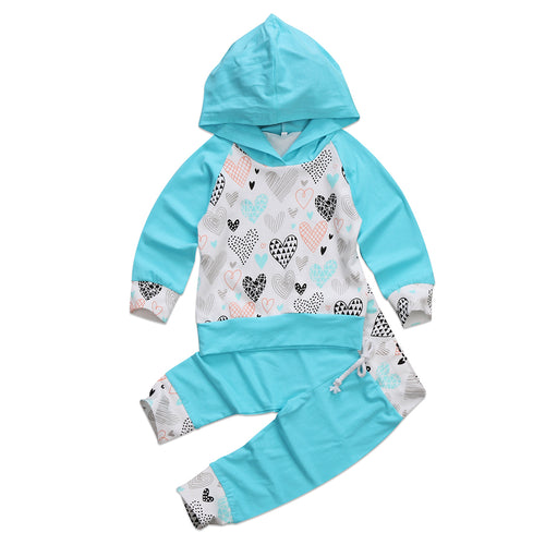 VALENCIA Heart Hooded Tops  and Long Pants Set (0-3T) -  Sets - The Tot Drawer