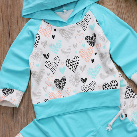 VALENCIA Heart Hooded Tops  and Long Pants Set (0-3T)
