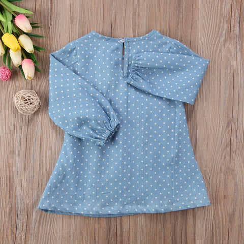 BEATRICE Denim Polka Dots Ruffle Dress (0-3T) -  Dress - The Tot Drawer