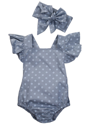 PENELOPE Polka Dot Butterfly Sleeves Romper with Headband -  Romper - The Tot Drawer