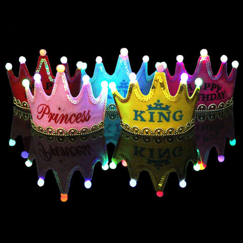 """Happy Birthday/ Princess/ King"" LED Crown Hat (9 designs option) -  Accessories - The Tot Drawer"