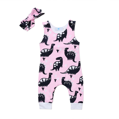 BECKY Dinosaurs Sleeveless Jumpsuit Romper Pink (0-24M) -  Romper - The Tot Drawer